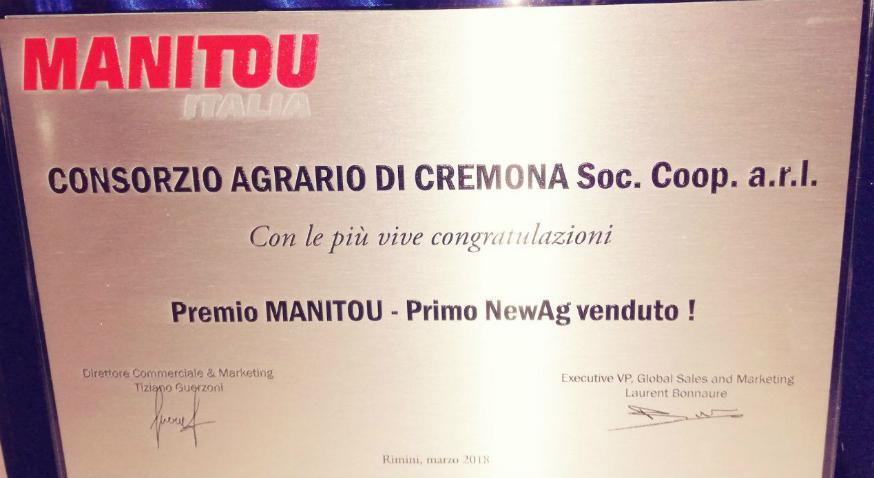 Il consorzio agrario di cremona premiato da manitou italia for Consorzio agrario cremona macchine agricole usate